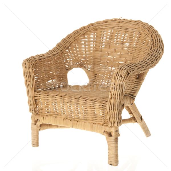 Wiklina krzesło odizolowany biały tle wnętrza Zdjęcia stock © ivonnewierink