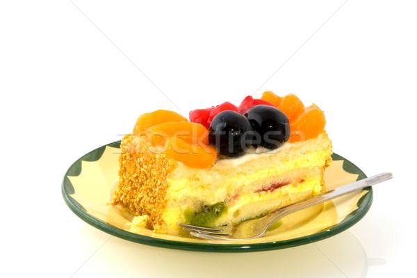 おいしい フルーツケーキ 緑 黄色 ソーサー コーヒー ストックフォト © ivonnewierink