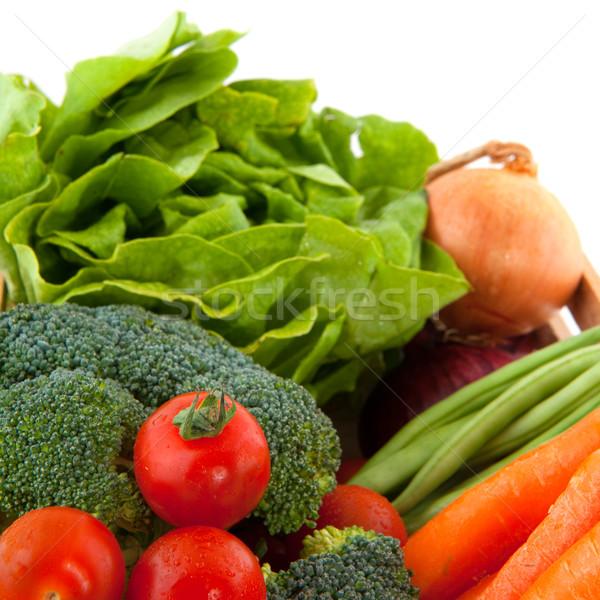 Skrzynia warzyw różnorodności odizolowany biały Zdjęcia stock © ivonnewierink