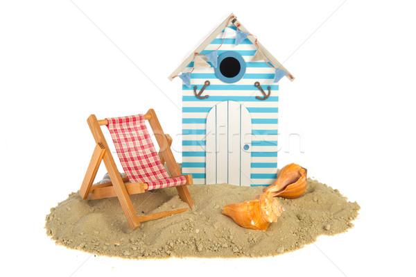 Tengerparti kunyhó szék nyár kagylók ház kék Stock fotó © ivonnewierink