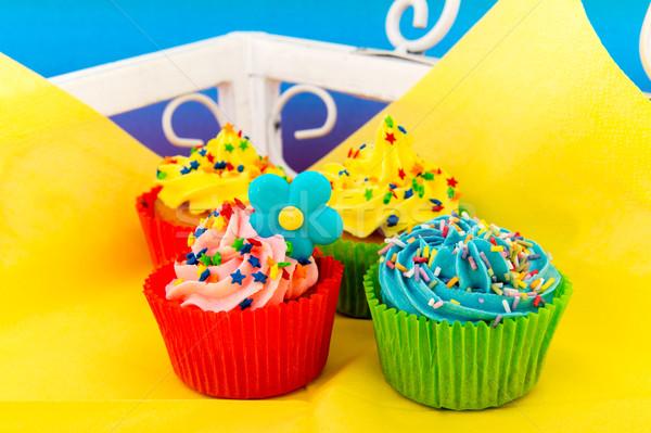 Birthday cupcakes Stock photo © ivonnewierink