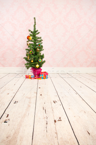 Vintage wall and wooden floor with Christmas tree Stock photo © ivonnewierink