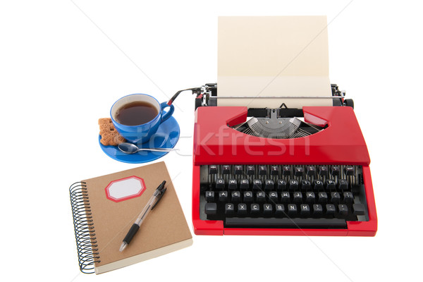 Red typewriter with blank paper Stock photo © ivonnewierink