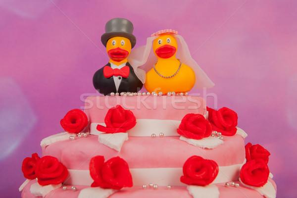 Esküvői torta vicces pár nő virágok torta Stock fotó © ivonnewierink