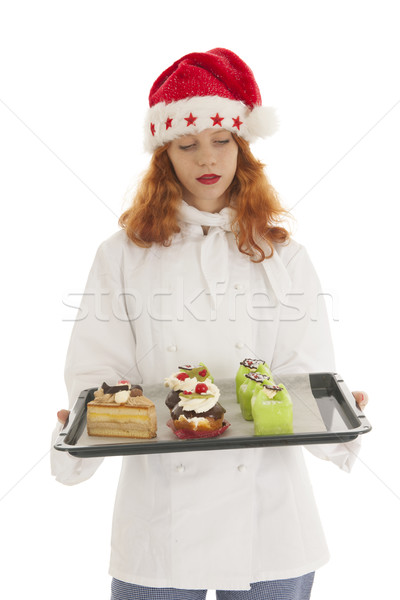 женщины Бейкер Дед Мороз Рождества повар Сток-фото © ivonnewierink