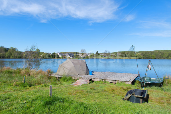 Landscape in French Limousin with fish place Stock photo © ivonnewierink