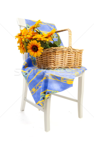 Foto stock: Girasoles · blanco · silla · diseno · azul · vida