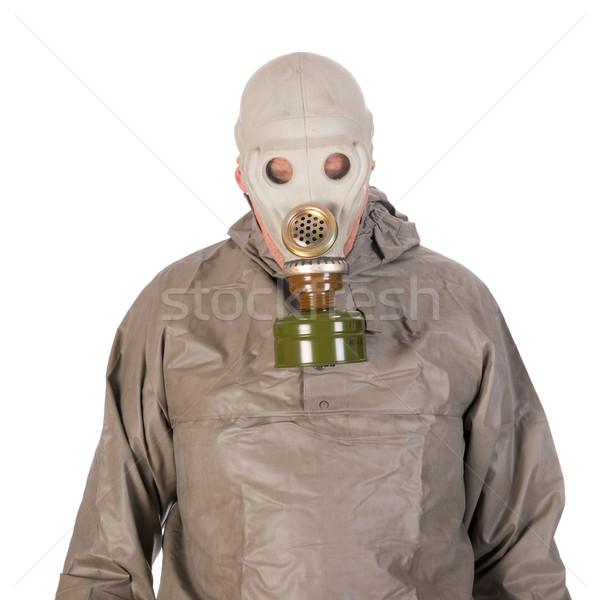 Man gasmasker bescherming pak achtergrond masker Stockfoto © ivonnewierink