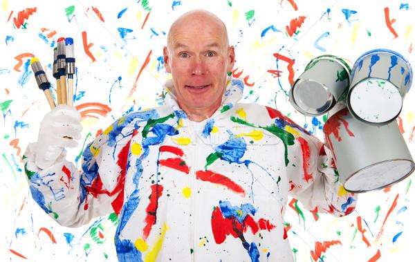 W górę bałagan malarz człowiek ściany zielone Zdjęcia stock © ivonnewierink