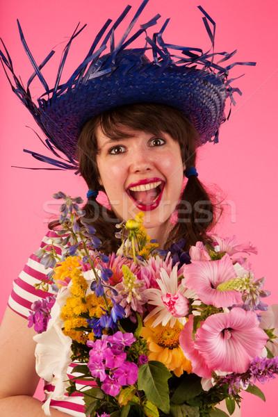 Happy with flowers Stock photo © ivonnewierink