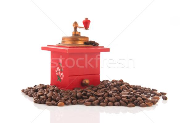 Kırmızı kahve öğütücü antika fasulye çiçekler Stok fotoğraf © ivonnewierink