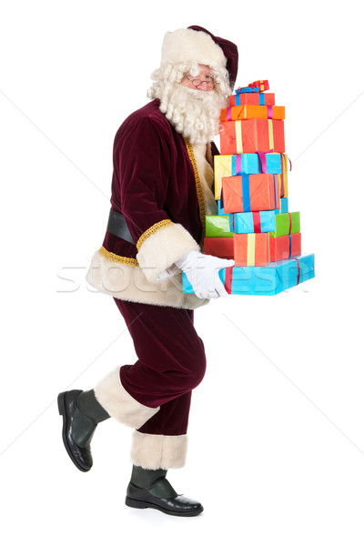 Stockfoto: Kerstman · presenteert · portret · gezicht · achtergrond · lopen