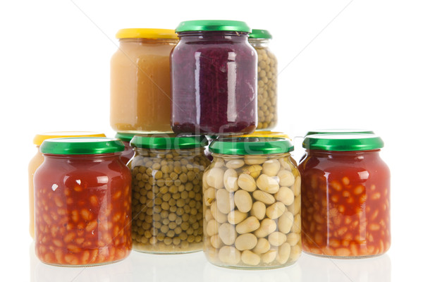 Row pots with canned vegetables Stock photo © ivonnewierink