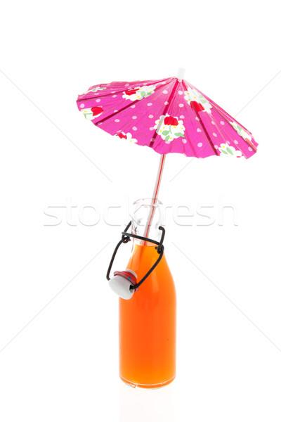 Butelki napój bezalkoholowy parasol szkła pomarańczowy lata Zdjęcia stock © ivonnewierink
