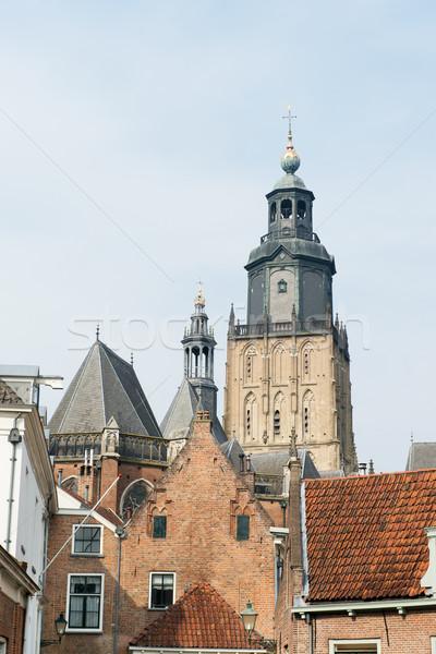 オランダ語 古い 教会 町 住宅 塔 ストックフォト © ivonnewierink