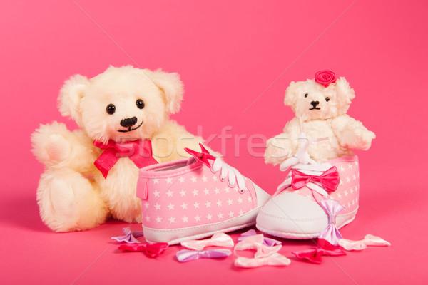 Kislány született fehér kéz plüssmackók rózsaszín Stock fotó © ivonnewierink