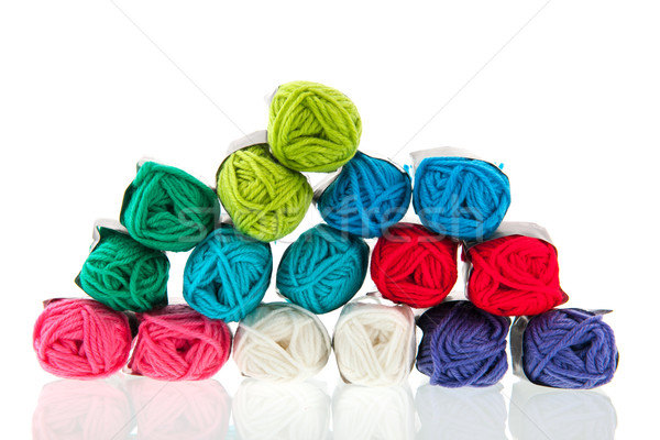 Colorido lana muchos aislado blanco Foto stock © ivonnewierink
