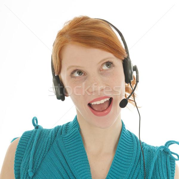 молодые красный женщину голову набор глядя Сток-фото © ivonnewierink