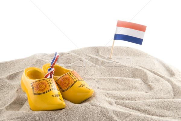 Spiaggia Holland scarpe bandiera giallo promozione Foto d'archivio © ivonnewierink