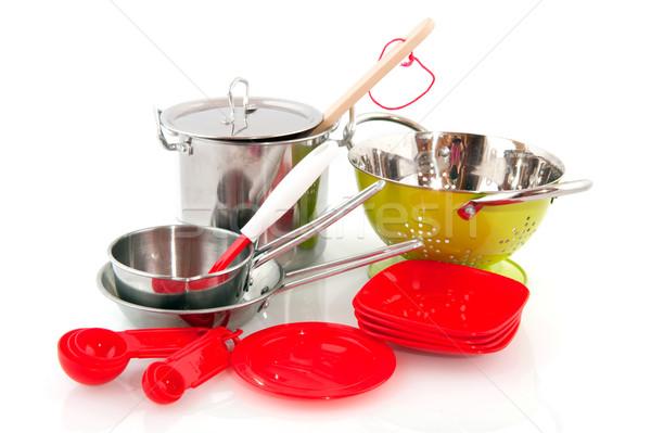 Konyhai felszerelés konyha étel főzés műanyag ezüst Stock fotó © ivonnewierink