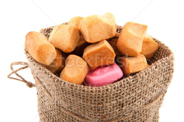 Stockfoto: Snoep · zak · geïsoleerd · witte