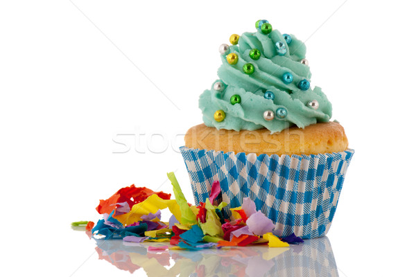 Cupcake in blue and green for birthday Stock photo © ivonnewierink