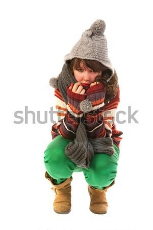 Stockfoto: Koud · winter · jong · meisje · tijd · achtergrond · jonge