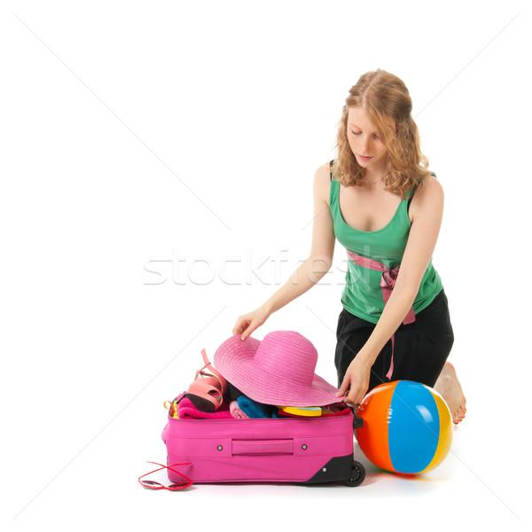 ストックフォト: スーツケース · 若い女性 · ピンク · 夏休み · 小さな