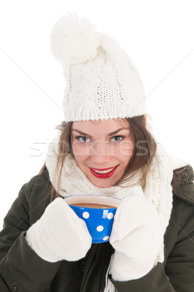 Portret winter meisje warme chocolademelk jas wanten Stockfoto © ivonnewierink