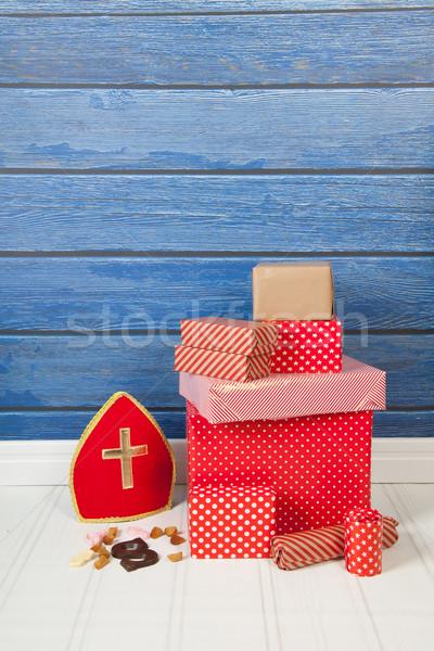 オランダ語 贈り物 キャンディ 青 チョコレート 背景 ストックフォト © ivonnewierink