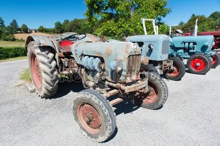 Row vintage tractors Stock photo © ivonnewierink