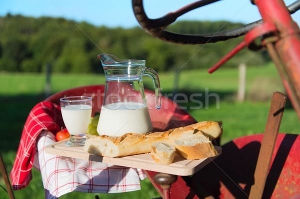 トラクター ミルク パン 赤 古い 農業 ストックフォト © ivonnewierink