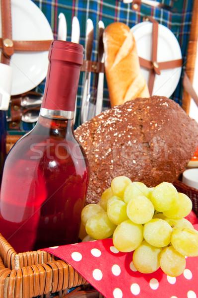 хорошие белый виноград вино еды Сток-фото © ivonnewierink