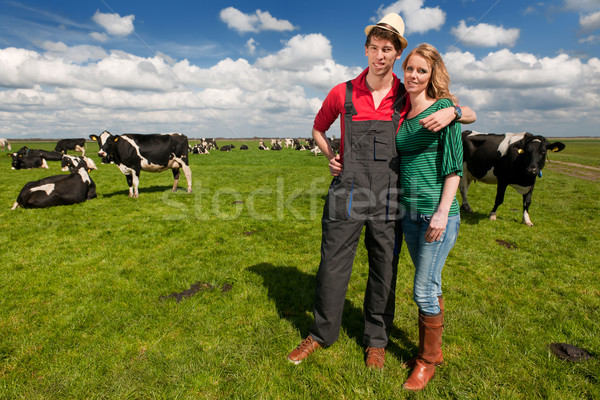 Typical Dutch landscape with farmer couple and cows Stock photo © ivonnewierink