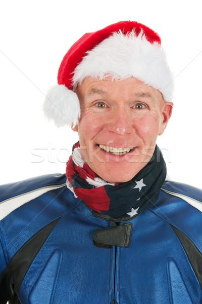 Portrait motor biker as Santa Claus Stock photo © ivonnewierink