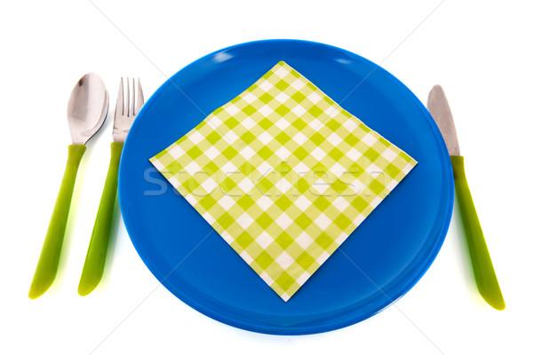 Stok fotoğraf: Mavi · plaka · yeşil · peçete · çatal · bıçak · takımı · çatal
