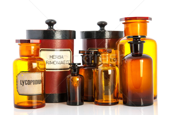 apothecary pots with ingredients for medicins Stock photo © ivonnewierink