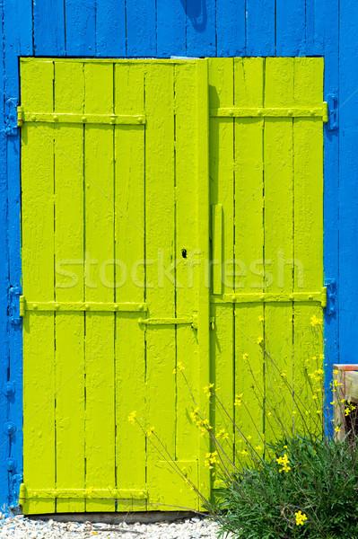 Colorful wooden doors from cabin Stock photo © ivonnewierink