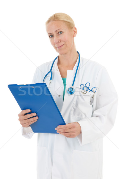 Physician with blue clipboard Stock photo © ivonnewierink