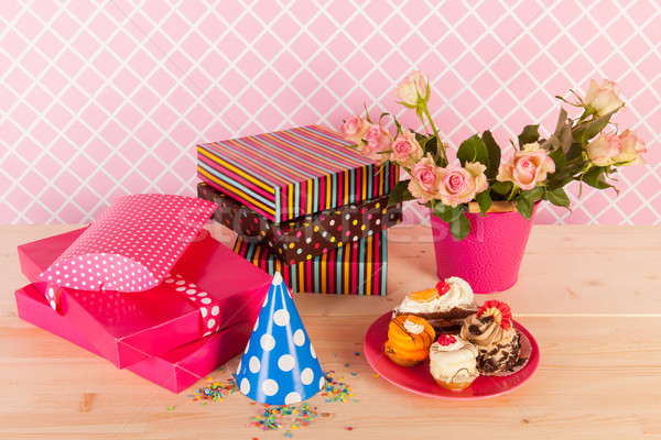 Presents flowers and birthday cakes Stock photo © ivonnewierink