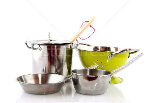 Konyhai felszerelés konyha étel főzés ezüst felszerlés Stock fotó © ivonnewierink