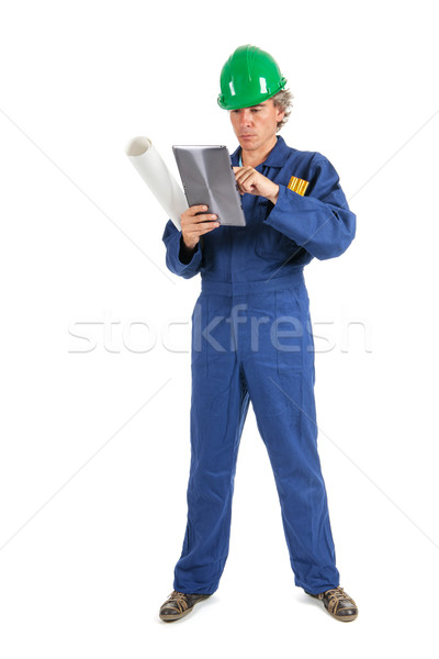 職人 作業 タブレット 孤立した 白 建設 ストックフォト © ivonnewierink
