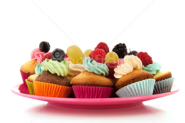 Fruit cupcakes on serve plate Stock photo © ivonnewierink