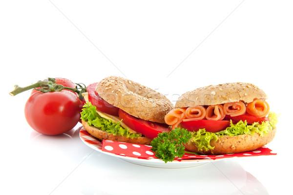 Peynir somon taze sebze balık ekmek Stok fotoğraf © ivonnewierink