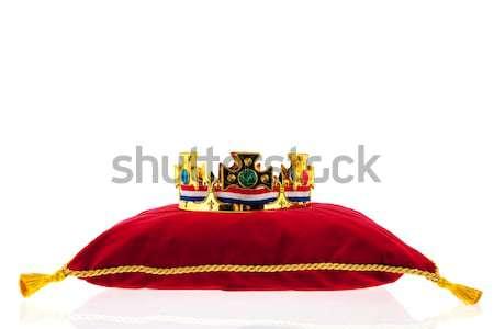Golden crown on velvet pillow with Dutch wooden shoes Stock photo © ivonnewierink