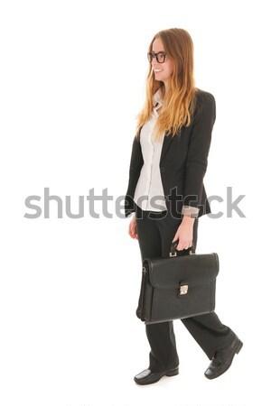 Mujer de negocios caminando negro bolsa aislado blanco Foto stock © ivonnewierink