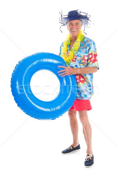 Nyugdíjas férfi vakáció játékok izolált fehér Stock fotó © ivonnewierink