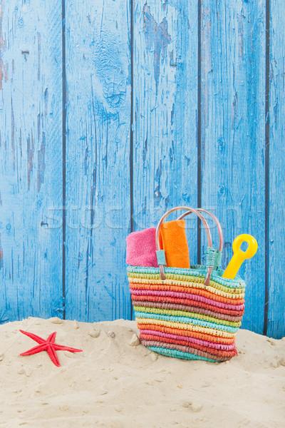 Beach bag in sand Stock photo © ivonnewierink