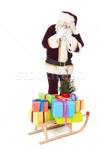Santa Claus and sled with many Christmas presents Stock photo © ivonnewierink