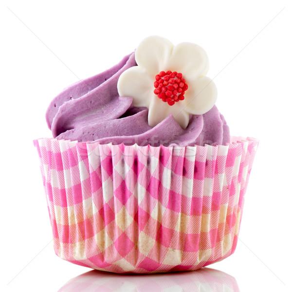 Rózsaszín minitorta virág vajkrém étel születésnap Stock fotó © ivonnewierink